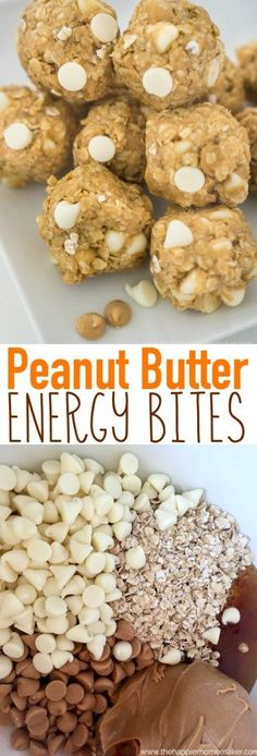 These no bake Peanut Butter Granola Energy Bites are only 5 ingredients and taste delicious-I like to eat them during my mid afternoon slump! They freeze great too! These easy No Bake Peanut Butter Energy Bites are the perfect snack or dessert. Peanut Butter Energy Bites, Peanut Butter Granola, Oatmeal Energy Bites, No Bake Energy Bites, Protein Packed Snacks, Protein Bites, Protein Energy, Energy Snacks, High Protein