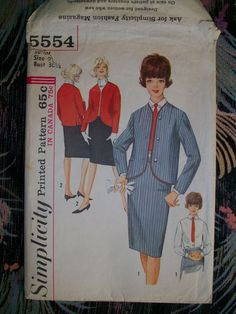 SIMPLICITY Vintage Sewing Pattern #5554 60's MOD Teen Junior Skirt Jacket Shirt