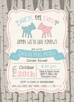 Buck or Doe Gender Reveal Party Invitation by SweetBeeDesignShoppe