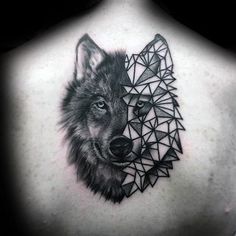 Gentleman With Half Geometric Wolf Back Tattoo