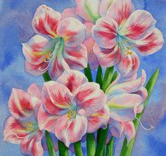 AMARYLLIS watercolor flower painting, painting by artist Barbara Fox