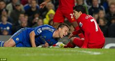 Luis Suarez used social media to offer his cringeworthy condolences to John Terry after the Chelsea captain was injured after a nasty-looking collision. Hug, Confidence, Chelsea, Soccer, Social Media, Football, Period, Sports, News