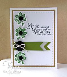 Hand stamped card by Marisa Ritzen using the Lucky You stamp set from Verve. #vervestamps