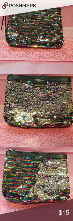 Victoria's Secret makeup bag Victoria's Secret multicolor sequin makeup bag New never used PINK Victoria's Secret Bags Cosmetic Bags & Cases