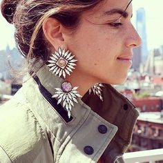 #howtowear statement earrings - Leandra Medine in Statement earrings #earrings #jewellery #annalouoflondon