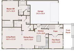 Craftsman Style House Plan - 3 Beds 2.50 Baths 2310 Sq/Ft Plan #461-9 Floor Plan - Main Floor Plan