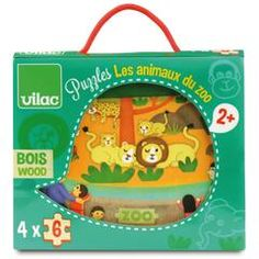 Állatkert - 4 puzzle, kirakó fából x 6 db-os), Zoo puzzle 2 éves kortól - Vilac Toy Packaging, Packaging Design, Puzzles, N Game, Le Zoo, Go Outdoors, Box Design, Board Games, Kids Toys