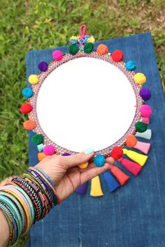 Multicolor Pom Pom Wall Mirror for Sale Diy Home Crafts, Crafts To Sell, Crafts For Kids, Festival Decorations, Diwali Decorations, Wall Mirrors For Sale, Mirror Crafts, Mexican Crafts, Pom Pom Crafts