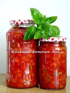 Kuchnia domowa Ani: Pomidory z bazylią do słoików Ketchup, Vegetable Recipes, Preserves, Salsa, Food And Drink, Menu, Treats, Homemade, Vegetables