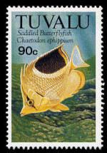 Stamp from the island nation of Tuvalu showing the Saddled Butterflyfish.