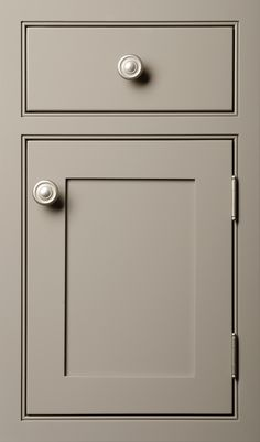 Shaker door done in Maple Vista Gray  - Love the extra detail around the openings