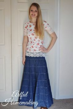 Thanks for the review of the Women's Long Tiered Denim Skirt @Joie7 ! Your daughter wears it very well! Get this great denim skirt here: http://koshercasual.com/Long-Denim-Skirt-Tiered-Layers-for-Womens_1487_p.html