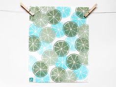 """LIMES"" Pattern Fruit Linocut Art Print 11x14""  Linoprint, linoleum, print, printmaking, stamp, ink, lime, citrus, fruit"