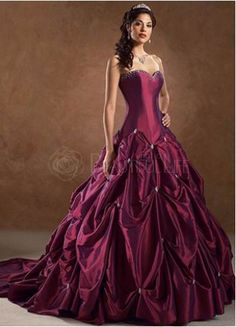 Burgundy Wedding Gown Chapel Train Cathedral Colored Gowns