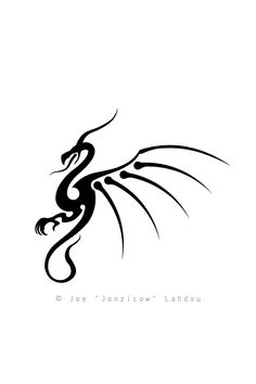 ... Tattoo Design by Joe Lahdou ... Tribal Winged Dragon ... Note: whoever wants to use this as a tattoo is more than welcome to do so, but I would appreciate it if you could send me a picture of the done tattoo to joe_sketch@hotmail.com