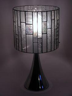 farblose Tischlampe aus verschiedenen Strukturgläsern Durchmesser 28 cm