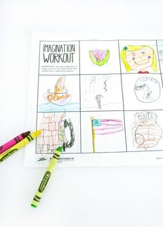 Imagination Workout Free Printable Art Worksheet - a easy worksheet for substitutes and fun for the kids. They use their imagination to create drawings from the premade lines and then can write about them on the back.