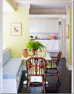 Good Life of Design: Wallpaper Choices!  Chinoiserie kitchen with banquet.