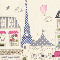 If you can't visit Paris bring Paris to you with these NEW gorgeous whimsical Paris fabrics! 'Balloons over Paris' is a lovely collection. Paris Illustration, Illustrations, Cute Illustration, Tour Eiffel, Smash Book, Planners, It's All Happening, Paris 3, Paris Party