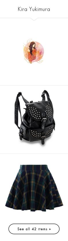 """""""Kira Yukimura"""" by lucyhalliday ❤ liked on Polyvore featuring bags, backpacks, accessories, purses, drawstring rucksack, faux-leather backpack, studded faux leather backpack, studded leather bag, drawstring backpack and skirts"""