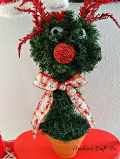 Christmas topiary tree red nose reindeer tutorial @Loren @ Pandora's Craft Box