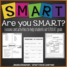 SMART Goals lessons that help students understand what it means to set SMART goals.  These five lessons have a whole group lesson plan as well as small group and individual activities to help students see and understand the individual components of setting SMART goals.