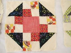 Lot-of-15-Vintage-Hand-Sewn-Feed-Sack-Cotton-ROAD-TO-CALIFORNIA-QUILT-BLOCKS