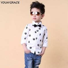 ActhInK 2016 New Kids Number 8 Pool Ball Formal Dress Shirts for Boys Brand Boys Long Sleeve Wedding Shirts with Bowtie, C111