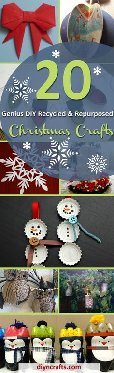 20 Genius #DIY #Recycled and Repurposed #Christmas #Crafts via @vanessacrafting