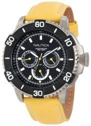 Nautica Men's N17604G NST 501 Classic Stainless Steel Watch with Yellow Faux-Leather Strap