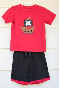 Pirate Applique for boys with matching shorts