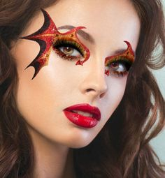 Xotic-Fire-Demon-Devil-Dragon-Costume-Glitter-Crystal-Eye-Makeup-Face-Mask-New