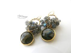 Gold and labradorite earrings.. my favorite stone!