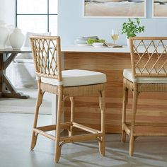 You'll love this Suzanne Kasler Southport Rattan Counter Stool! Shop online for Ballard's Suzanne Kasler Southport Rattan Counter Stool & refresh your living & dining decor style. Rattan Counter Stools, Counter Stools With Backs, Rattan Stool, Stools For Kitchen Island, Rattan Dining Chairs, Kitchen Reno, Kitchen Remodeling, Kitchen Ideas, Kitchen Design