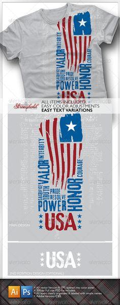 USA Flag T-Shirt Grunge Designs Template PSD, Vector EPS. Download here: http://graphicriver.net/item/usa-flag-tshirt/1608560?s_rank=4&ref=yinkira
