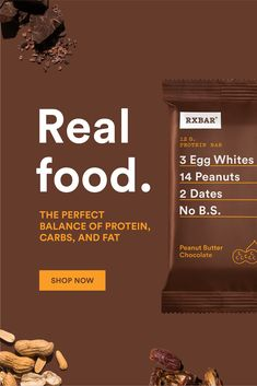 RXBAR is made with only a few simple ingredients. We tell you what's on the outside so there are no surprises on the inside. Best Chocolate, Chocolate Peanut Butter, Retro Graphic Design, Food Branding, Promotional Design, Breakfast On The Go, Pre And Post, Email Design, Real Food Recipes