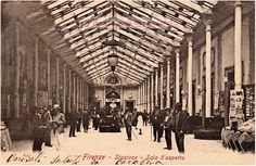 Sala d'spetto della demolita stazione ferroviaria Maria Antonia, cartolina viaggiata nel 1897.#Firenze.