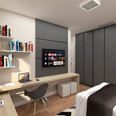 News and Trends from Best Interior Designers Arround the World Home Office Bedroom, Home Office Setup, Home Office Space, Small Room Bedroom, Home Decor Bedroom, Home Room Design, Home Office Design, Interior Design Living Room, House Design