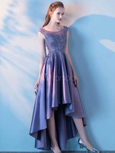 It's YiiYa New Purple Illusion Zipper High-low Asymmetry Vintage Elegant Flower Taffeta Prom Gown Prom Dress Dancing Party High Low Prom Dresses, Homecoming Dresses, Tea Length Formal Dresses, Satin Violet, Wedding Dress Prices, Purple Gowns, Cheap Gowns, Vestido Casual, Party Gowns