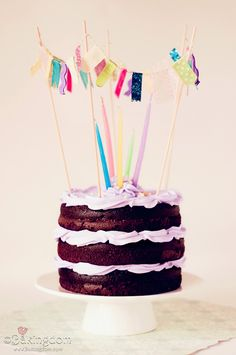 Festive Banner Rustic Birthday Cake