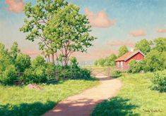 Johan Krouthén (1859-1932): Landscape with a red cottage