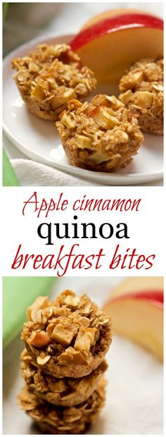 Apple cinnamon quinoa breakfast bites - these wholesome mini muffins make great finger food for little ones and a portable breakfast/snack for older kids and adults! | FamilyFoodontheTable.com