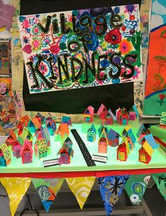 Kind words build us up- with flowers and steps and petals Cassie Stephens: In the Art Room: School-Wide Collaborative Series, A Village of Kindness, Part II and a Giveaway (now closed) Group Art Projects, School Art Projects, Art School, Collaborative Art Projects For Kids, Class Projects, School Ideas, Diy Projects, Matilda, Art Lessons Elementary