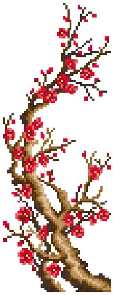 Plum Flower 1/4 Chinese Art Drawings,just 0.26$ Cross Stitching, Cross Stitch Embroidery, Cross Stitch Patterns, Cross Stitch Tree, Cross Stitch Flowers, Hobbies And Crafts, Diy And Crafts, Lego Mosaic, Melting Beads