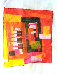 Abstract april 2015 Fused and sewn plastic Geskea Andriessen ca 40x40 cm