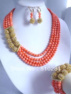 3 Strands Pink Coral Beads Necklace Coral Jewery SET With Gold Ball Findings $77.68