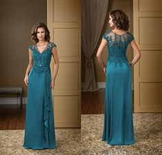 Wholesale Mother of the Bride Dress - Buy 2014 Fall Winter Formal Plus Size Mother Of The Bride Dresses Sheer V Neck Lace Applique Teal Green Chiffon Mother Evening Gowns DL1314081, $106.81 | DHgate.com