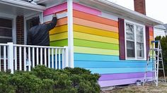 Don't have to be gay to like concept of rainbox hue painting in a garden.