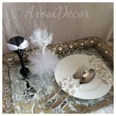 Prettified champagne flutes for the bride & groom. Made by arosidecor. For more info email us on arosidecor@gmail.com or find us on IG.  Afghan wedding