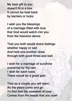 wedding poems to read to bride and groom - Google Search